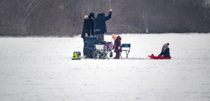 family, winter, ice fishing