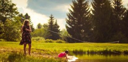 girls, fishing, creek